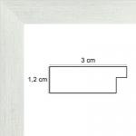 Encadrement sur Mesure Plat strié Blanc 3 cm