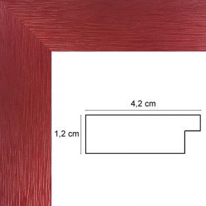 Encadrement plat strié rouge