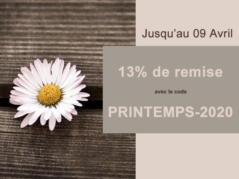 13% de remise pour fêter le Printemps avec le code PRINTEMPS-2020